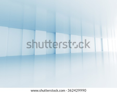 Abstract architecture, empty corridor perspective interior. 3d render illustration - stock photo
