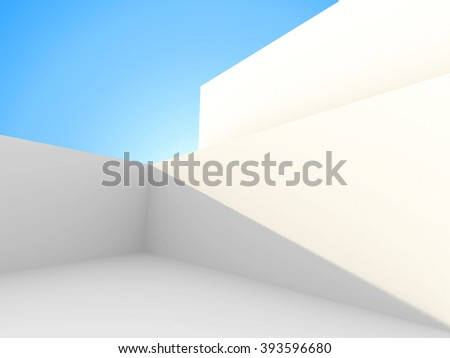Abstract Architecture futuristic Building On Sky Background. 3d Render Illustration - stock photo