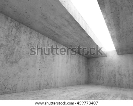 Abstract architecture interior background, empty concrete room with white lighting in ceiling, 3d illustration
