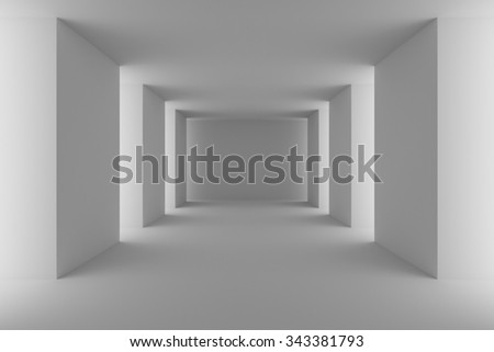 Abstract architecture interior: empty white hall with white columns, floor and ceiling, 3d illustration