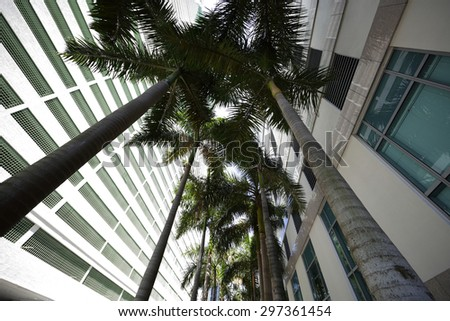 Abstract architecture shot with a wide angle lens - stock photo