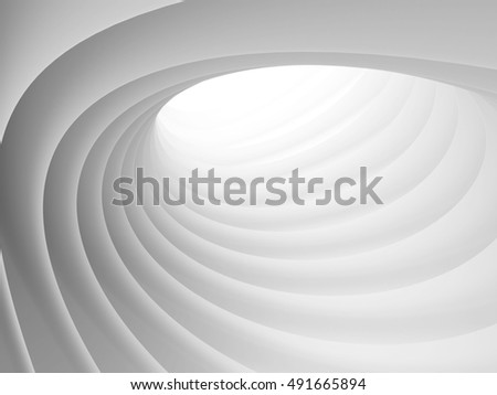 Abstract Architecture Tunnel White Background. 3d Render Illustration
