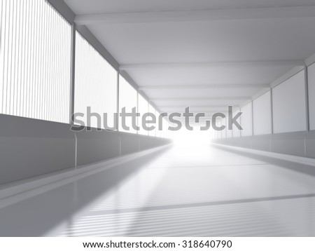 abstract architecture white interior with road 3D rendering - stock photo