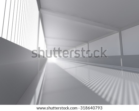 abstract architecture white interior with road 3D rendering