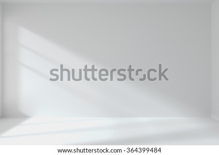 Abstract architecture white room interior: empty white room with white wall, white floor, white ceiling with light from window, without any textures, 3d illustration