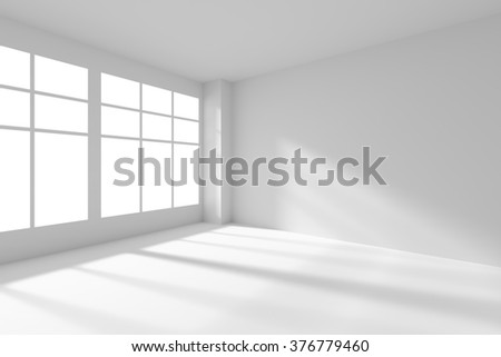 Abstract architecture white room interior - white empty room corner with white walls, white floor, white ceiling and window with sunlight from window, without any textures, 3d illustration - stock photo