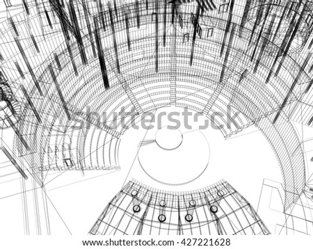 Abstract architecture wireframe, 3D rendering