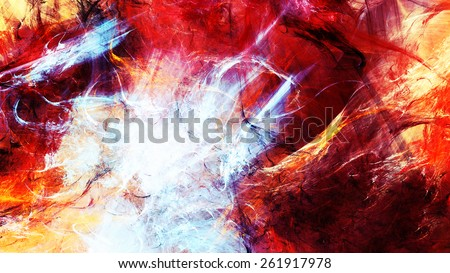Abstract ardent background. Vibrant fiery color pattern for creative design. Futuristic flame energy template for wallpaper, poster, cover of your booklet, flyer. Fractal art - stock photo