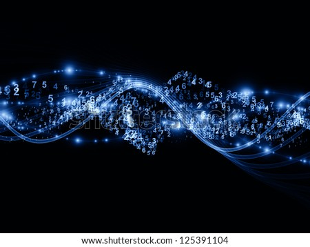 Abstract arrangement of abstract sine waves, numbers and design elements suitable as background for projects on modern computing, virtual reality and signal processing - stock photo