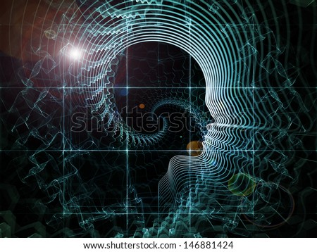 Abstract arrangement of human head and fractal grids suitable as background for projects on science, technology and intelligent life in the Universe - stock photo