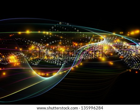 Abstract arrangement of lights, fractal and custom design elements suitable as background for projects on network, technology and motion