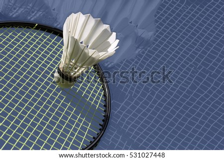 Abstract arrangement of shuttlecock and racket