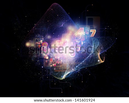 Abstract arrangement of symbols, lights, fractal elements suitable as background for projects on digital communications, science and virtual cloud technology
