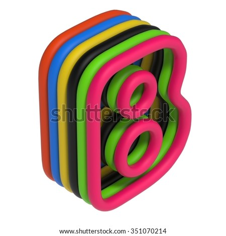 abstract art ABC, 3d letter B isolated on white background - stock photo