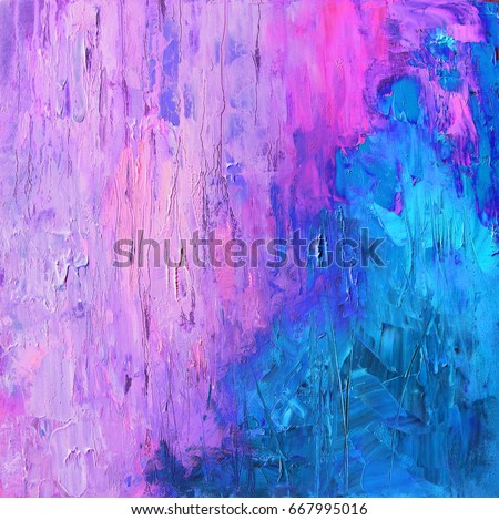 Abstract Art Background In Bright Blue And Gentle Pink Violet Colors Original Oil Painting On