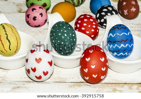 Abstract art background in decorating the easter eggs / Easter eggs / Exclusively hand painted and all original works by yours truly