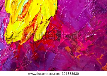 Abstract art background. Oil painting on canvas. Purple  texture with yellow spot. Fragment of artwork. Spots of oil paint. Brushstrokes of paint. Modern art. Contemporary art. - stock photo