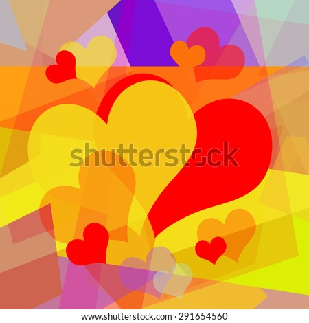 Abstract art background with loving hearts - stock photo