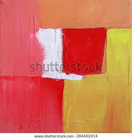 Abstract Art - Digital Illustration - Geometry - Squares in Red Yellow and White Colors - stock photo