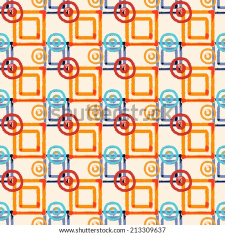 Abstract art geometric ethnic distressed seamless pattern with squares and circles. Repeating folk background texture. Fabric design. Wallpaper - raster version