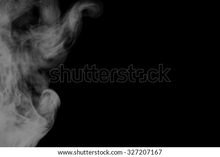 Abstract art. Grey smoke hookah on a black background. Background for Halloween. Texture fog. Design element. The concept of aromatherapy.