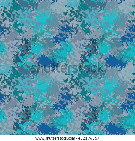 Abstract art grunge blue seamless pattern. Background texture, pant spots, brush strokes, distressed