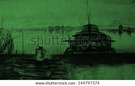 abstract art in green shade  - stock photo