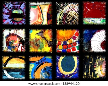 Abstract Art Quilt of Original Sun Paintings - stock photo