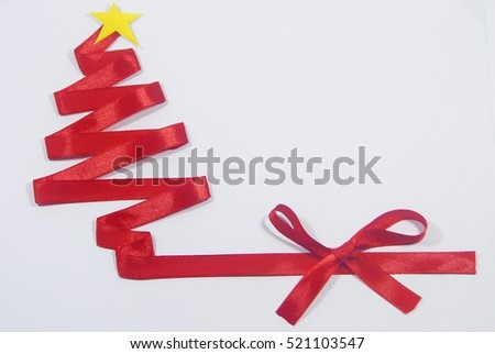 Abstract art red ribbon christmas tree