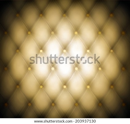 Abstract art skin background texture of an old natural luxury modern style leather with rhombs Classic light golden, dark yellow grungy decor retro wall, door, sofa, studio interior with metal buttons - stock photo