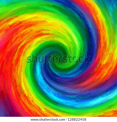 Abstract art swirl rainbow grunge colorful  paint background - stock photo