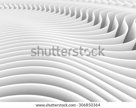 Abstract Art Waves 3d White Background. 3d Render Illustration - stock photo