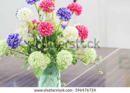 Abstract artificial flowers for background. Soft Focus Vintage.