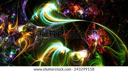 Abstract artistic color light background for creative design. Futuristic decoration for wallpaper desktop, poster, cover booklet, flyer. Fractal art. - stock photo