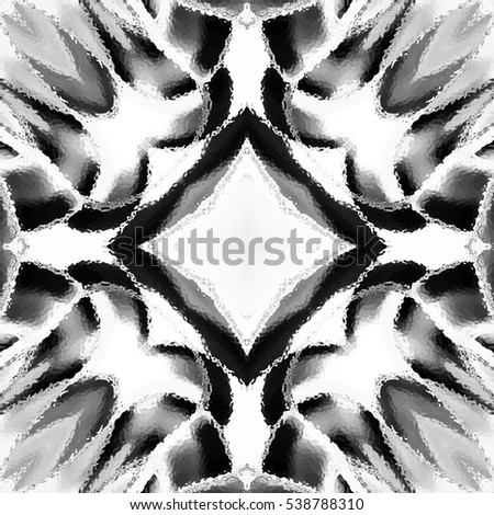 Abstract artistic melting black and white pattern for design, textile and backgrounds