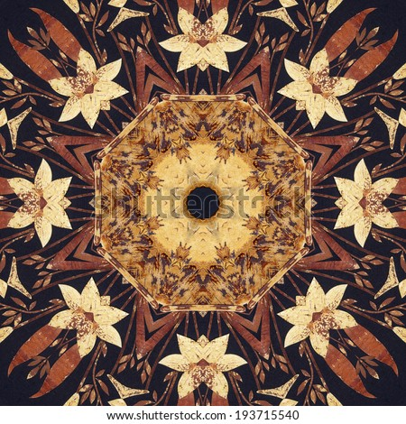 Abstract artistic pattern, seamless handmade floral ornament, applique from the back side of a birch bark on black fabric background - stock photo