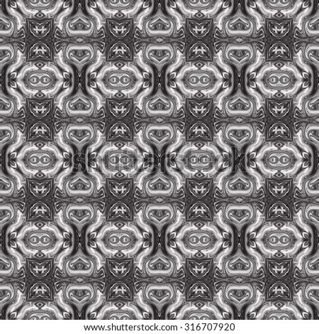 Abstract artistic seamless black and white pattern for design and background
