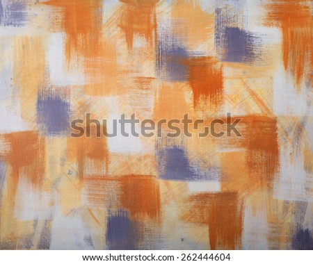 Abstract Artwork on Canvas with Blue, Yellow and Orange squares - stock photo