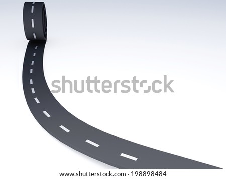 Abstract asphalt winding road on isolated white
