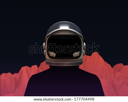 Abstract Astronaut with Mars Mountain Landscape - stock photo