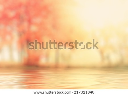 abstract autumn background with reflection effect - stock photo