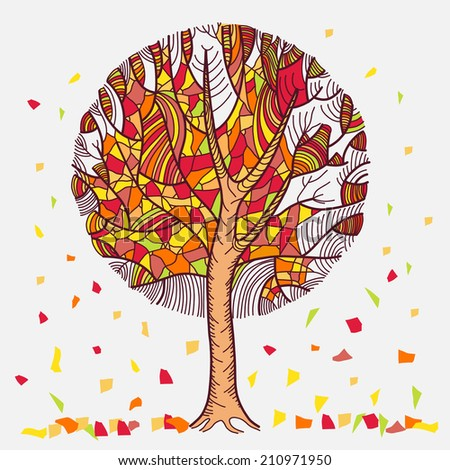 Abstract autumn tree with leaves flown. Isolated on white background
