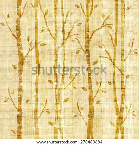 Abstract autumn trees - Fresh green trees - Parks and Gardens - Forest trees silhouettes landscape - Interior Design wallpaper - retro vintage design, seamless pattern, rustic texture, papyrus texture - stock photo