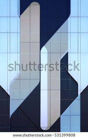 Abstract aviation background with elements resembling an airplane. Modern glass architecture. Refined double exposure photo of structural glass wall of office building reflecting blue sky.