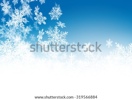 Abstract Azure Blue - Winter Background - with falling Filigree Snowflakes. Cold and Foggy Backdrop with Soft Highlights and Snow Flakes. - stock photo