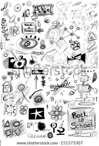 Abstract back to school, doodle school symbols isolated on white background