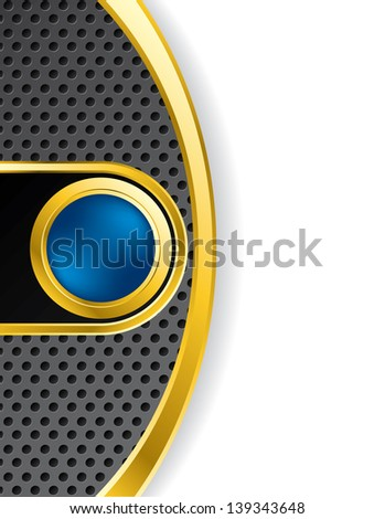 Abstract backdrop with golden blue button