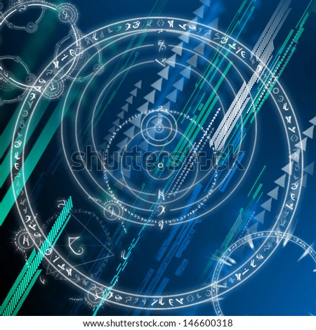 Abstract background and astrological chart