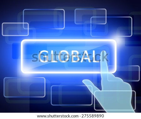 abstract background and the words global in rectangle.