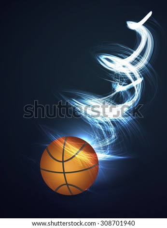 Abstract background Basketball ball on fire - stock photo